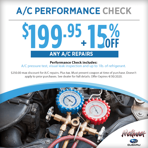 Subaru A/C Performance Check Service Special in Huntington Beach, CA