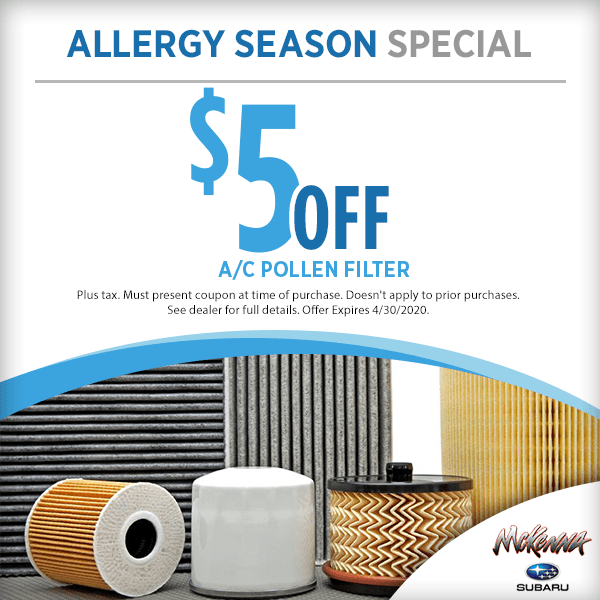Subaru Allergy Season Service Special in Huntington Beach, CA