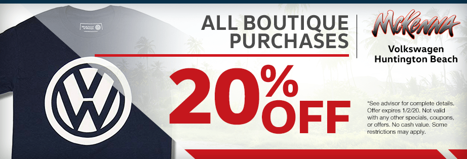 20% off all boutique purchases Parts Special at McKenna Volkswagen in Huntington Beach, CA