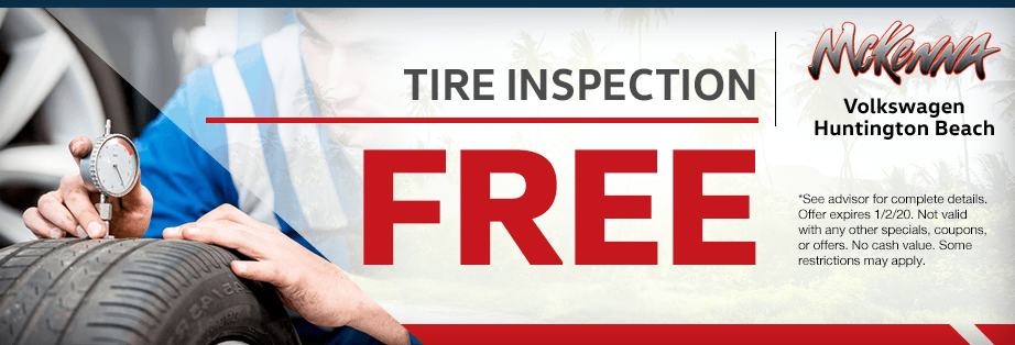 Free tire inspection Service Special at McKenna Volkswagen in Huntington Beach, CA
