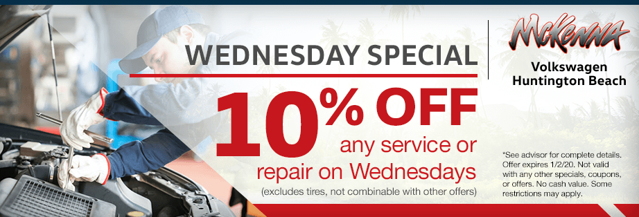 10% off any service or repair on Wednesdays Service Special at McKenna Volkswagen in Huntington Beach, CA