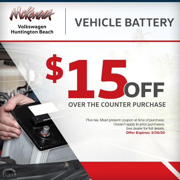 Save $15.00 off over the counter purchase of a vehicle battery in Huntington Beach, CA