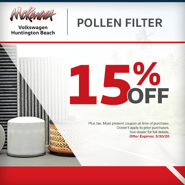 Save 15% off pollen filter in Huntington Beach, CA