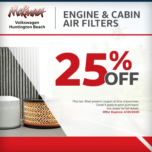 Save25% off engine and cabin air filtersin Huntington Beach, CA