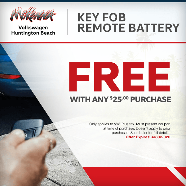 SaveFree key fob remote battery with any $25.00 purchase (only applies to VW)in Huntington Beach, CA