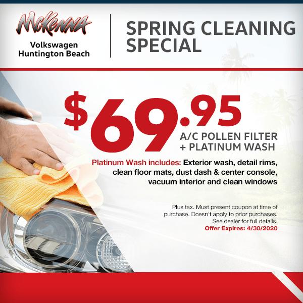 Spring Cleaning Special $69.95 - A/C Pollen Filter + Platinum Washat McKenna Volkswagen in Huntington Beach, CA
