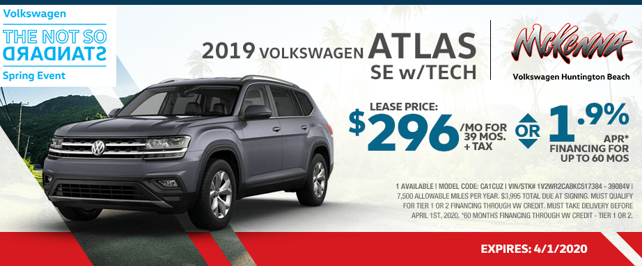 2019 Volkswagen Atlas SE w/Tech Lease Special in Huntington Beach, CA