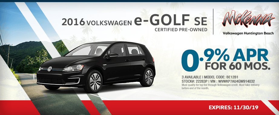 2016 Volkswagen eGolf SE Special Lease Savings in Huntington Beach, CA