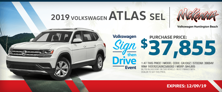 2019 Volkswagen Atlas SEL Special Lease Savings in Huntington Beach, CA