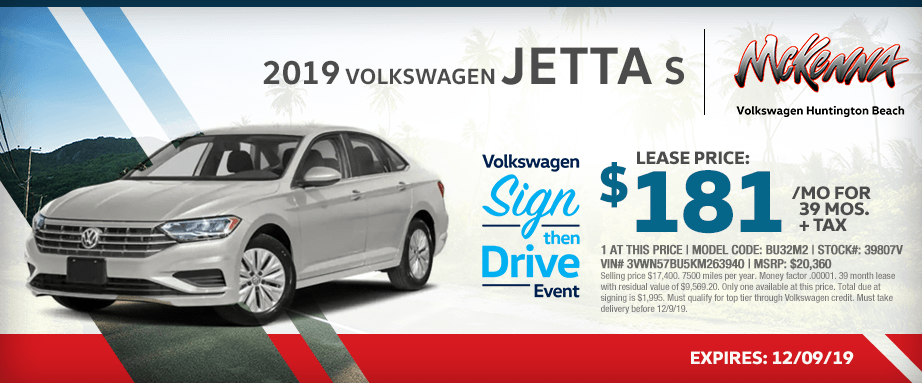 2019 Volkswagen Jetta S Special Lease Savings in Huntington Beach, CA