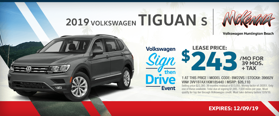 2019 Volkswagen Tiguan S Special Lease Savings in Huntington Beach, CA