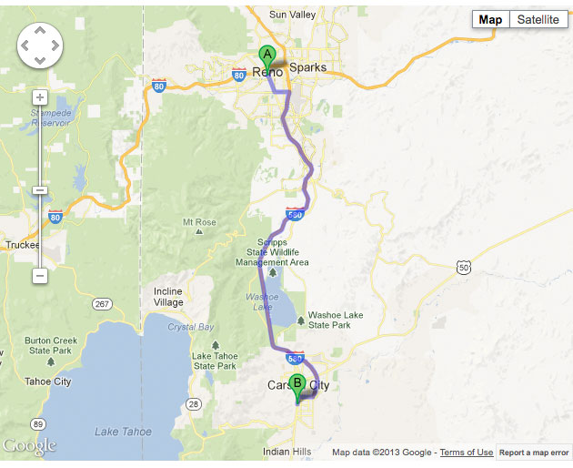 Interactive Google Map, Reno to Michael Hohl Honda, Carson City, NV