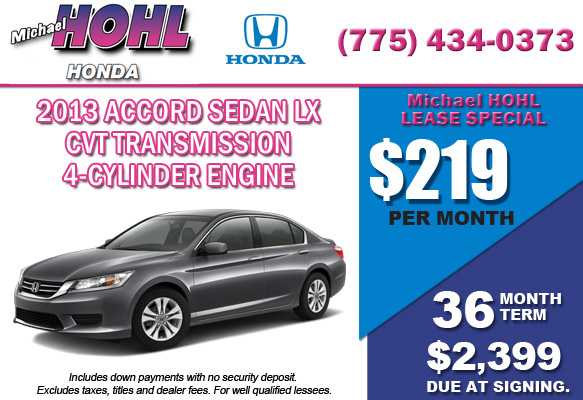 New 2013 Accord Sedan LX w/CVT Transmission Lease Special Offer serving Reno, Nevada