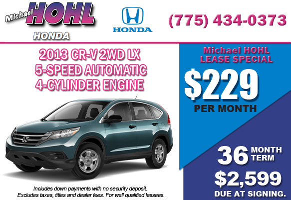 New 2013 Honda CR-V 2WD LX Lease Special Offer serving Reno, Nevada