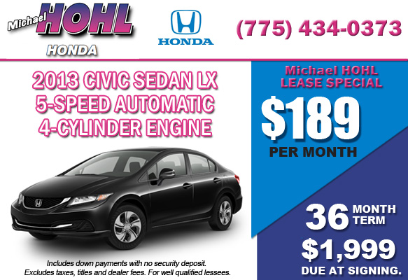 New 2013 Honda Civic Sedan LX Lease Special Offer serving Reno, Nevada