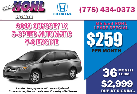 New 2013 Honda Odyssey LX Lease Special Offer serving Reno, Nevada