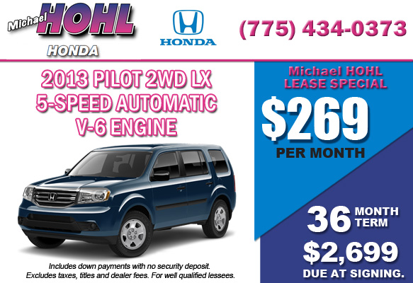 New 2013 Honda Pilot 2WD LX Lease Special Offer serving Reno, Nevada