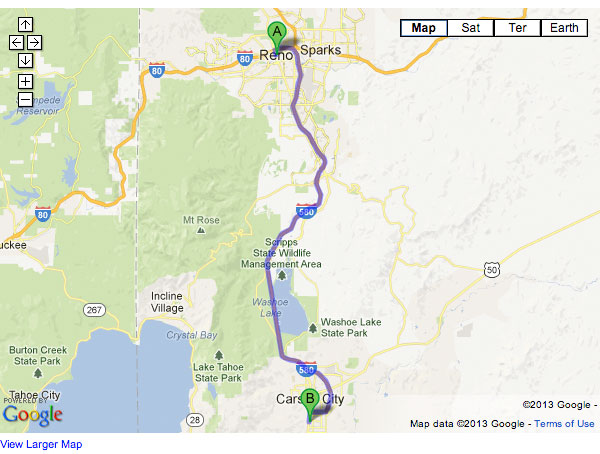 Interactive Google Map, Reno to Michael Hohl Subaru, Carson City, NV
