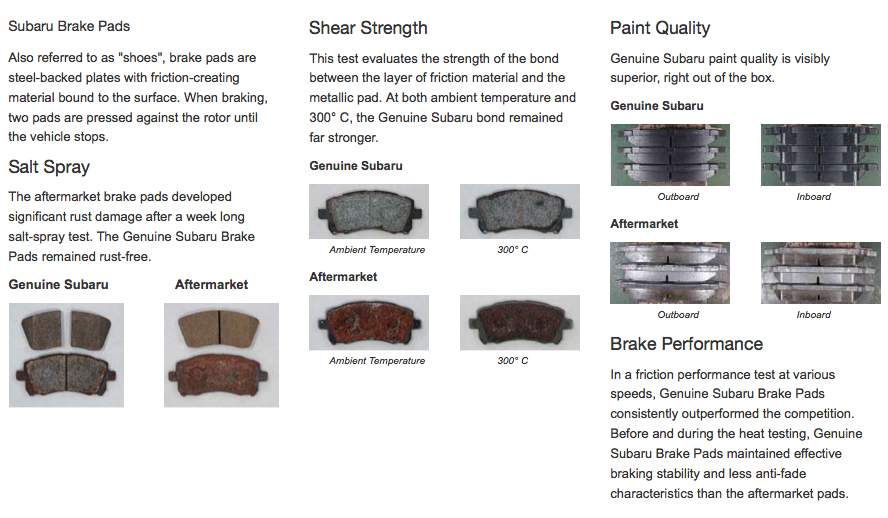 Genuine Subaru Brake Pad Parts and Components Reno, NV