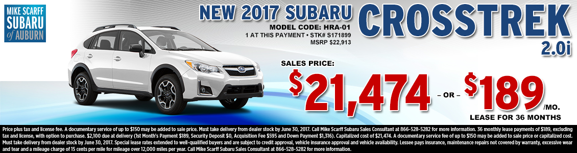 Lease or Purchase a New 2017 Subaru Crosstrek 2.0i from Mike Scarff Subaru in Auburn, WA