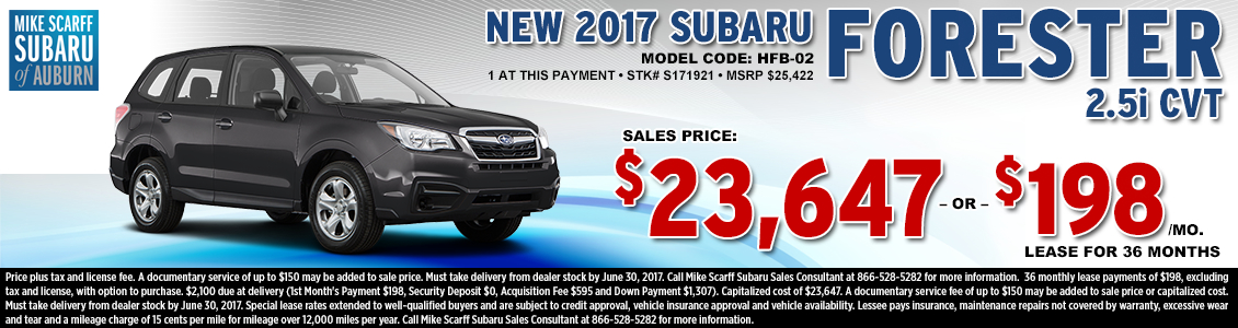 Lease or Purchase a New 2017 Subaru Forester 2.5i CVT from Mike Scarff Subaru in Auburn, WA