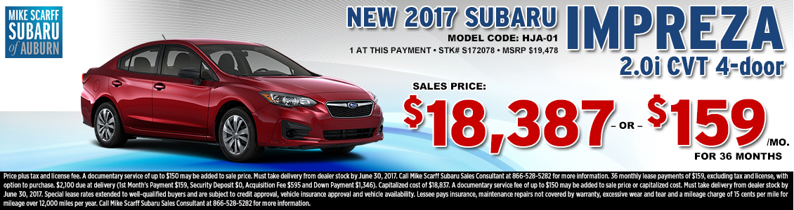 Lease or Purchase a New 2017 Subaru Impreza 2.0i sedan from Mike Scarff Subaru in Auburn, WA