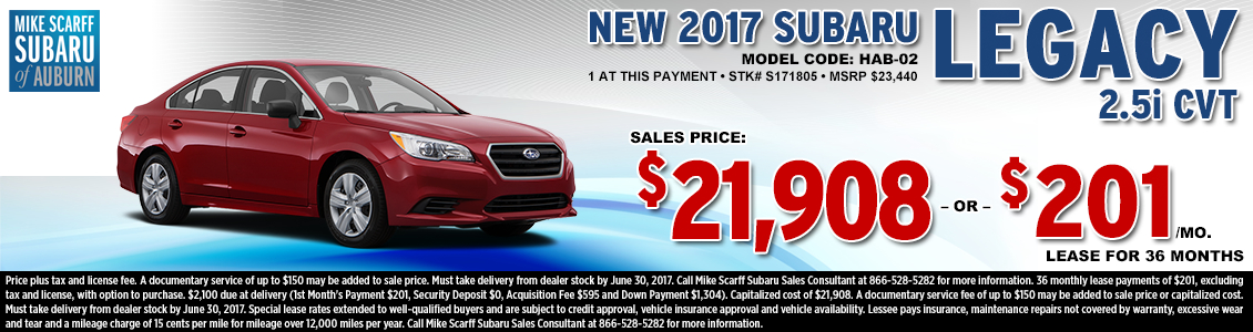 Lease or Purchase a New 2017 Subaru Legacy 2.5i CVT from Mike Scarff Subaru in Auburn, WA