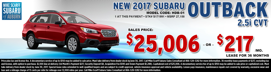 Lease or Purchase a New 2017 Subaru Outback 2.5i CVT from Mike Scarff Subaru in Auburn, WA