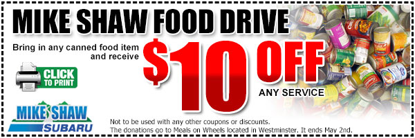 Denver Subaru Food Drive Service Special in Colorado