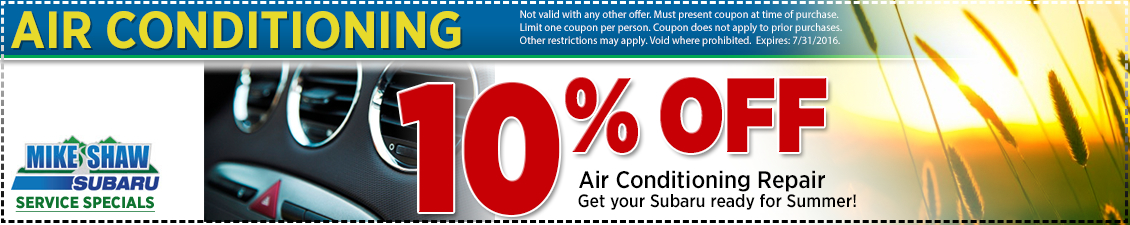 10% off A/C repair service savings offer from Mike Shaw Subaru serving the Denver, CO metro area