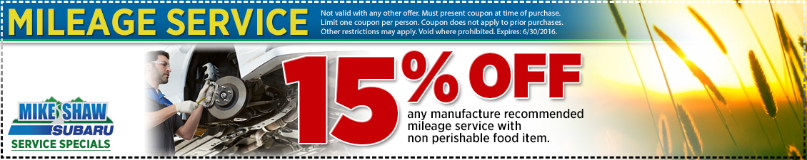 15% off any manufacture recommended mileage service from Mike Shaw Subaru serving the Denver, CO metro area