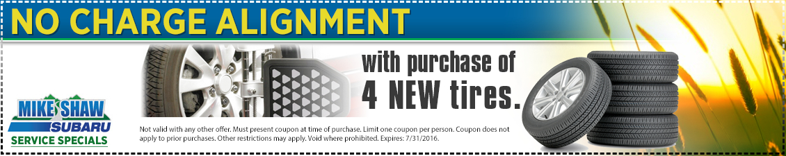 Free Alignment with purchase of 4 new tires service savings from Mike Shaw Subaru serving the Denver, CO metro area