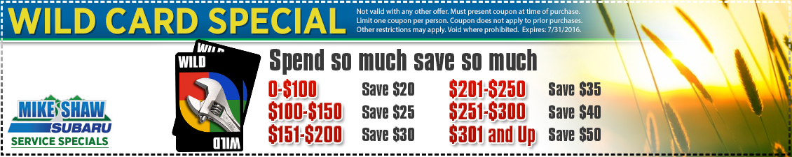 Wild Card Savings Discount service savings from Mike Shaw Subaru serving the Denver, CO metro area
