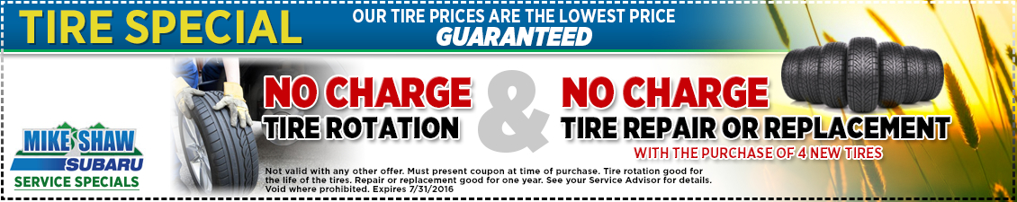 Save with free rotation for the life of your tires and free service or repair for a year when you buy 4 new tires for your Subaru in Thornton, CO