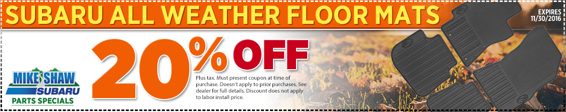 Get a special discount on genuine Subaru all-weather floor mats when you present this coupon at Mike Shaw Subaru in Thornton serving Denver, CO