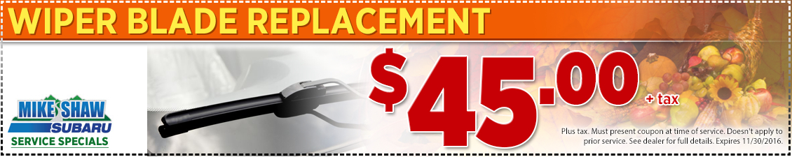 Save with this Denver, CO area special offer on our Subaru Complete Wiper Blade Replacement service from Mike Shaw Subaru in Thornton, CO