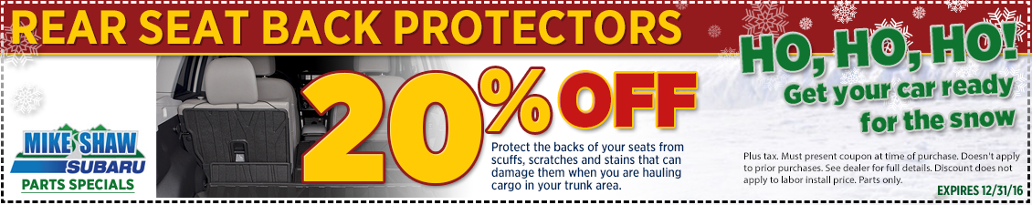 Print and save with this special coupon good for a discount on a genuine Subaru rear seatback protector near Denver, CO