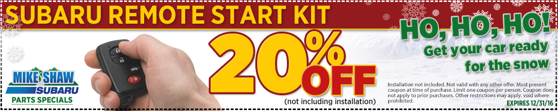 Take advantage of this outstanding special offer on genuine Subaru remote start kits from Mike Shaw Subaru in Thornton serving Denver, CO