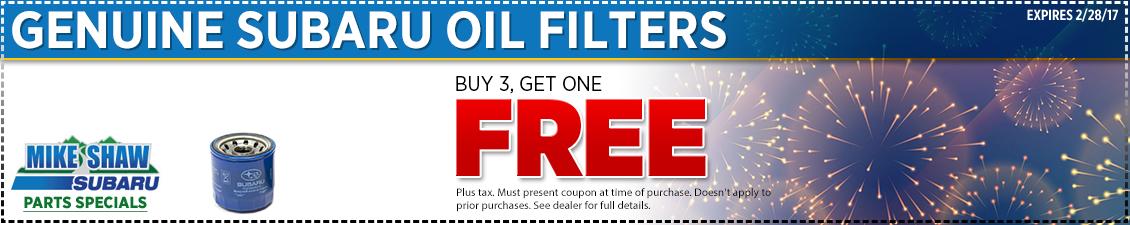 Save on genuine Subaru oil filters - buy 3 get 1 free at Mike Shaw Subaru