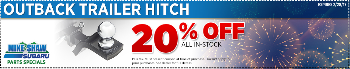 Mike Shaw Subaru special discount offer on genuine Subaru Outback trailer hitches
