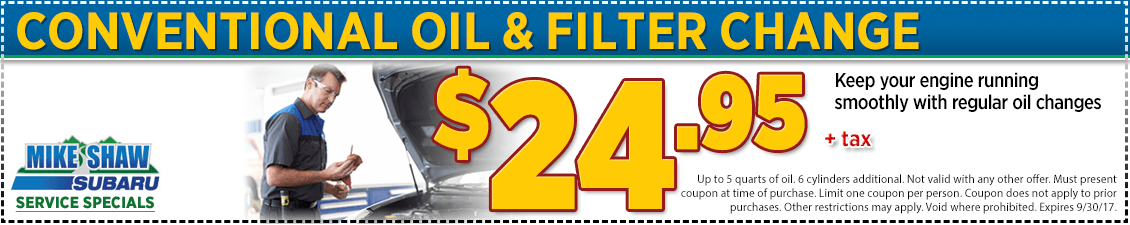 Click to Print This Subaru Conventional Oil Change Service Special in Thornton, CO