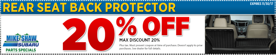 Get a special discount on a genuine Subaru rear seatback cover when you present this coupon at Mike Shaw Subaru in Thornton serving Denver, CO