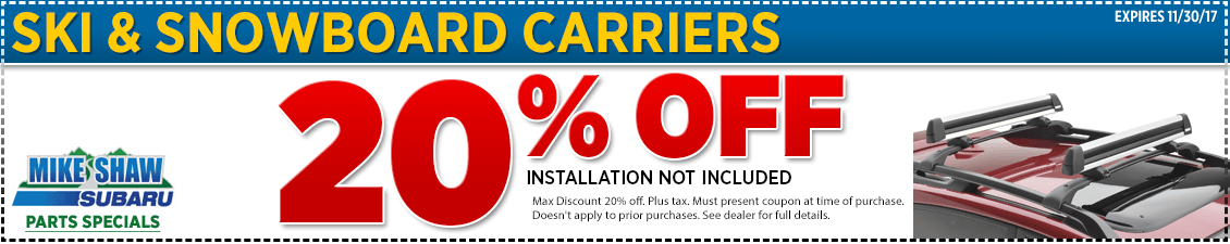 Get a special discount on a genuine Subaru Ski & Snowboard Carrier when you present this coupon at Mike Shaw Subaru in Thornton serving Denver, CO