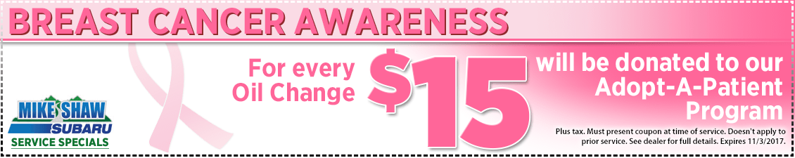 Support Breast Cancer Research with an Oil Change at Mike Shaw Subaru serving Denver, CO