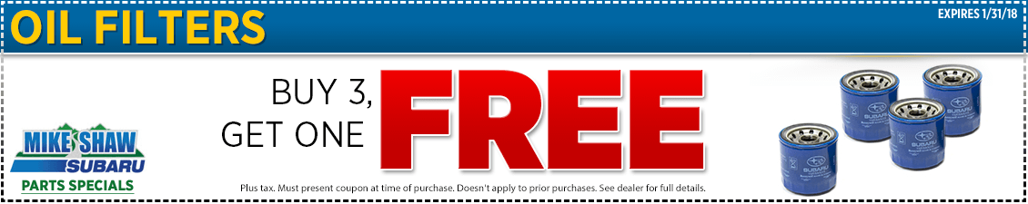 Get a special discount on genuine Subaru oil filters when you present this Buy 3 Subaru Oil Filters & Get One Free coupon at Mike Shaw Subaru in Thornton serving Denver, CO