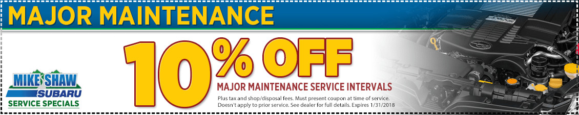 Print to Save on Major Maintenance Service Intervals at Mike Shaw Subaru in Thornton, CO