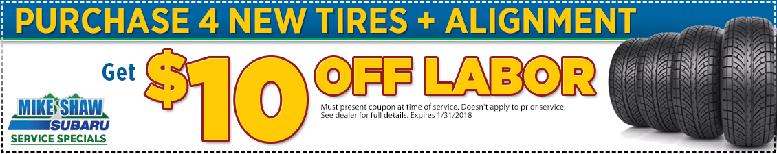 Print to save on your next alingment service with tire purchase at Mike Shaw Subaru in Thornton, CO