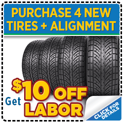Click for service savings on tire purchase and alignment at Mike Shaw Subaru serving Denver, CO
