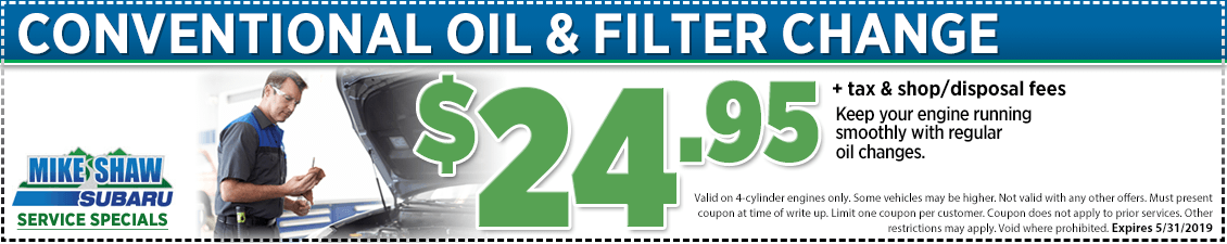 Click to print conventional oil change service special at Mike Shaw Subaru serving Denver, CO