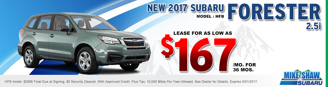 Save When You Lease a New 2017 Subaru Forester 2.5i When You Use this Special Offer at Mike Shaw Subaru in Thornton, CO